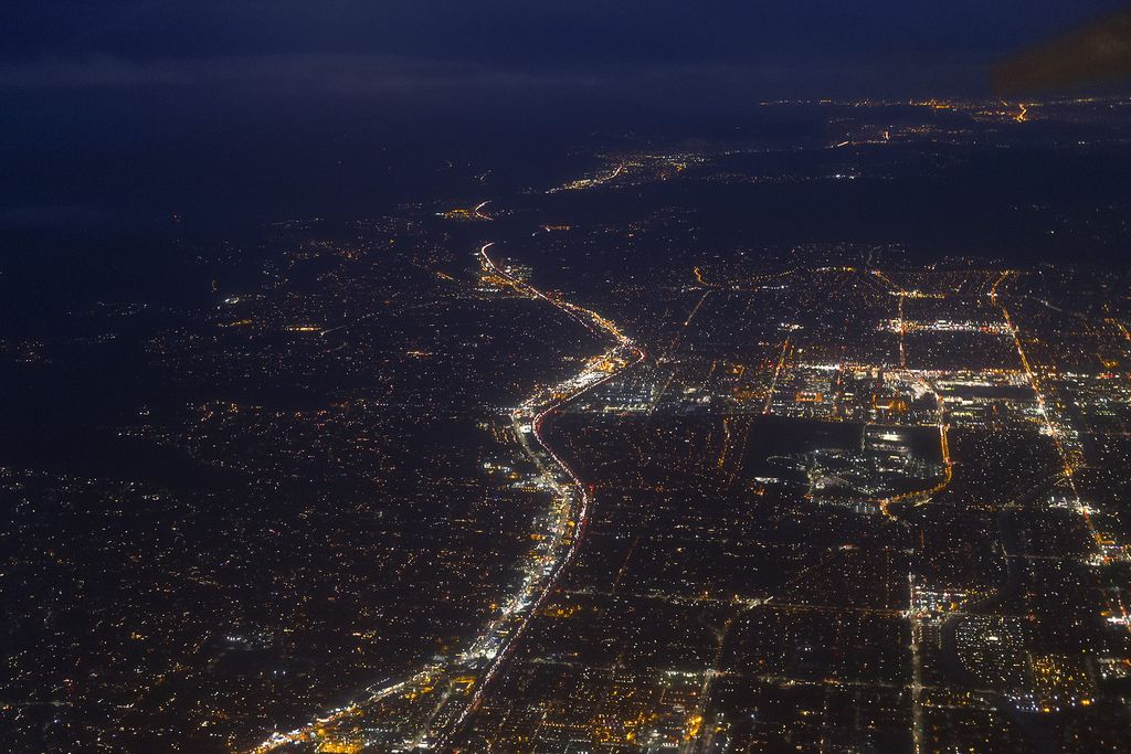 City lights from above Woodland Hills and Canoga Park
