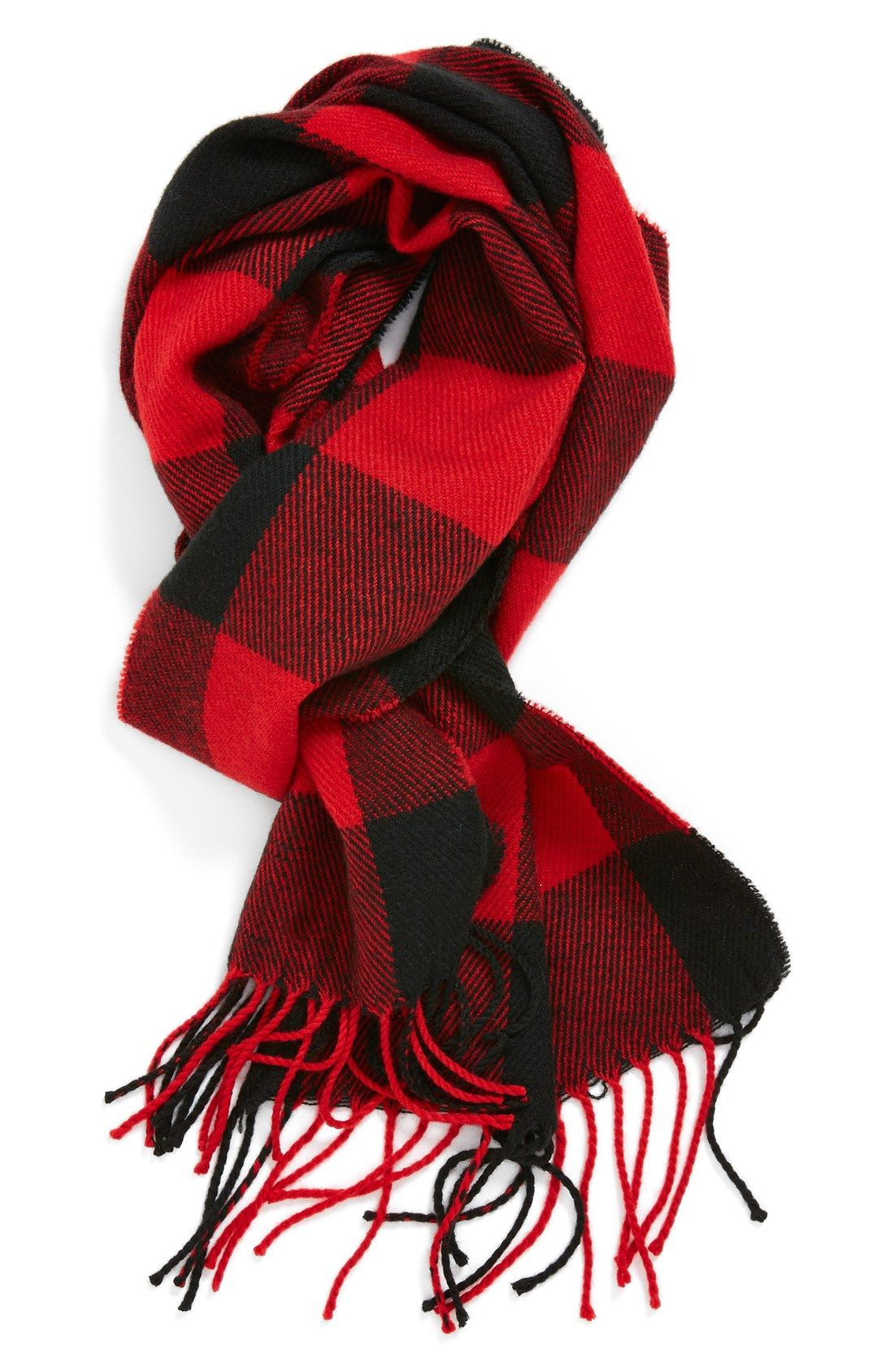 Red and black check scarf for him.