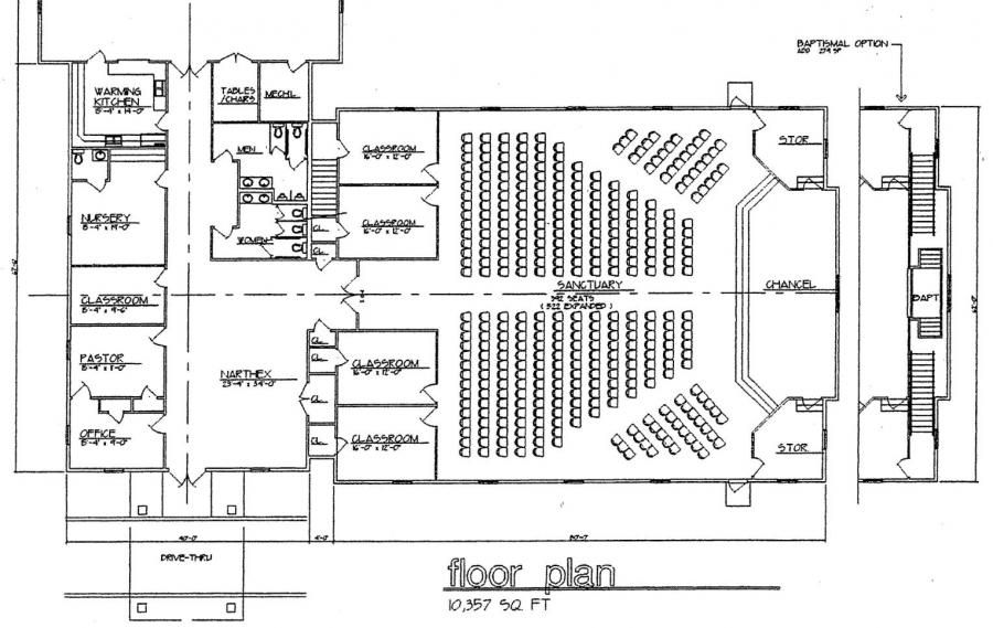 Simple church building plans church plan 120 lth for Floor plan church