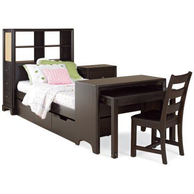Sleep store and study with our midtown bookcase storage platform bed with desk with clean for Bedroom set with matching desk