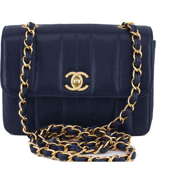 Pre Owned Chanel Vintage Caviar Navy Blue Mademoiselle Classic Mini 4 555 Bgn Liked On Polyvore F Blue Leather Handbag Vintage Chanel Navy Blue Handbags