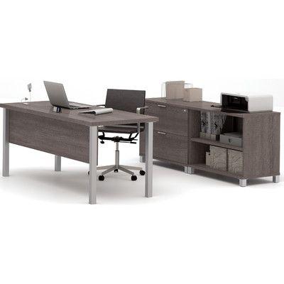 Mercury Row Ariana 3-Piece U-Shape Desk Office Suite Finish: Bark Grey