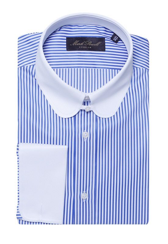 Round Tab Collar Shirt Stripe Blue White Mark Powell E