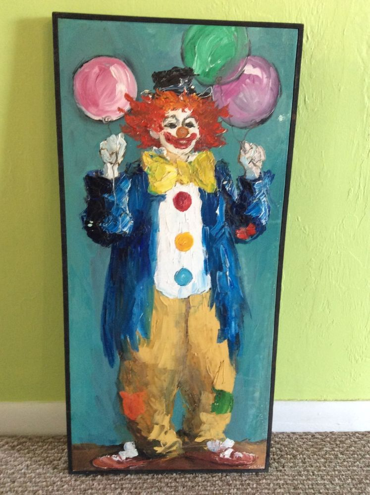 COOL VINTAGE CLOWN OIL ON CANVAS PAINTING SIGNED M  SIBLEY | Clown