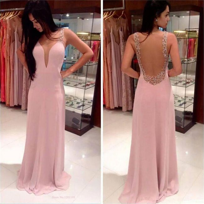 Women Sexy Backless Pink Chiffon Formal Evening Gown Prom Bridesmaid ...