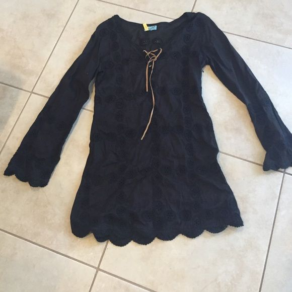 Letarte black boho cover up Letarte Black boho cover up with great attention to detail! Can be worn as a dress with a slip Letarte Swim Coverups