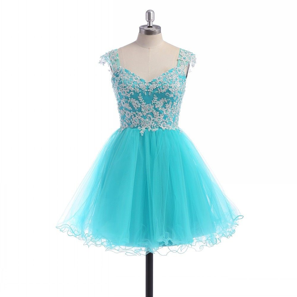 Light Blue Size 16 Homecoming Dress Ball Gown White Appliques V-neck ...