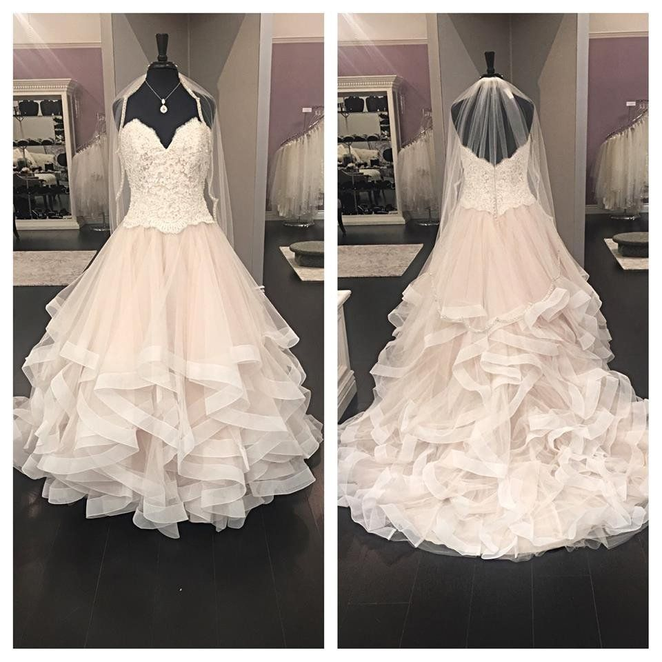 Wedding dresses with ruffles on skirt  Lace Bodice Tulle Ruffle Skirt Strapless Wedding Dresses with Chapel