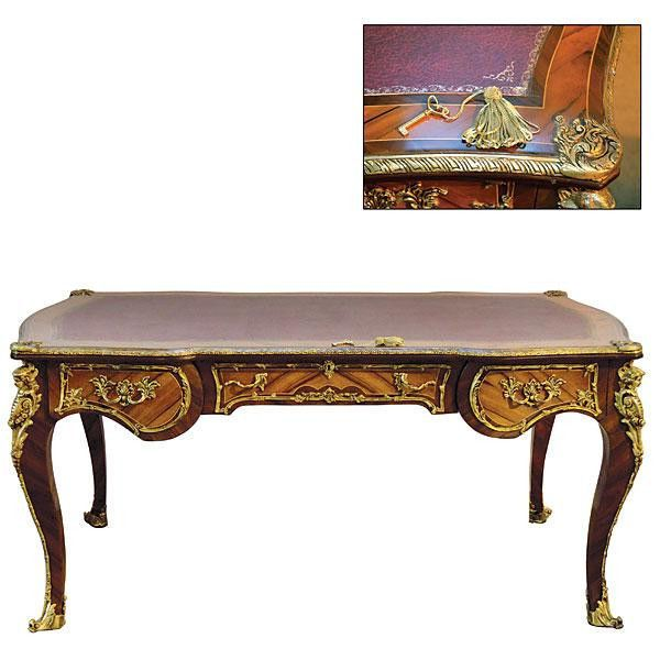 French Desk King Louis Antique Styled Inlaid Hardwoods Handmade Gold New - Louis XV French Writing Desk Antique Reproduction Hardwoods Gold
