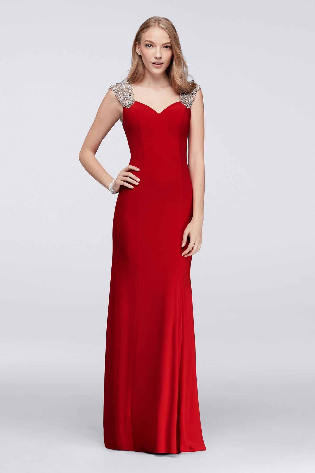 Modern beaded cap sleeves long column jersey prom gowns style