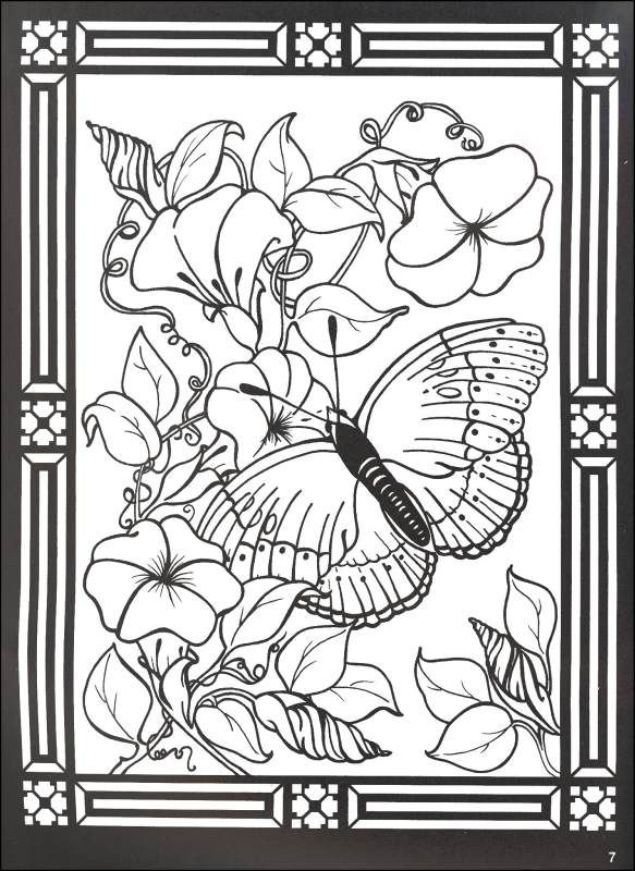 stained glass windows to color butterflies and blossoms stained glass coloring book 043723 - Stained Glass Coloring Books