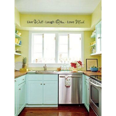 Amazon.com - Live well Laugh often Love Much 40x7 vinyl wall art sayings decor lettering - Wall Decor Stickers