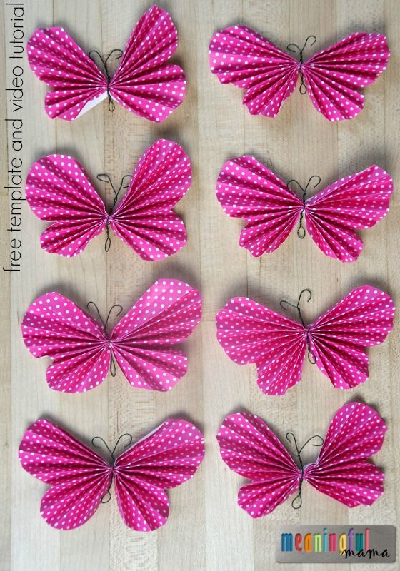 How to make a folded paper butterfly paper butterflies butterfly and template for Paper butterfly templates