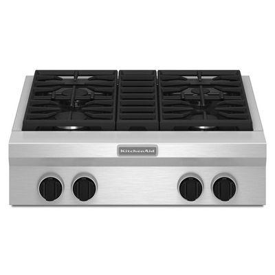 Kitchenaid Kgcu407vss 30 In 4 Burner Gas Cooktop Stainless Steel Gas Cooktop Cooktop Kitchen Aid