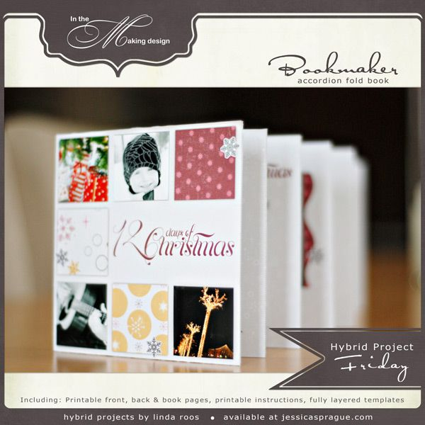 12 Days of Christmas Hybrid Album - Learn how to make a beautiful holiday themed accordion fold book to showcase photos from your holiday. With its chic design and colourful papers this book will be a cherished keepsake for years to come.