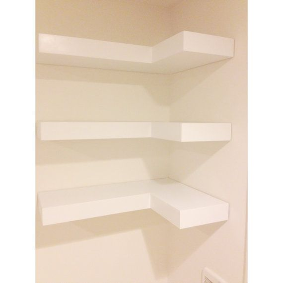 White Floating Corner Shelves Set Of Three By Woodguycustoms 120 00 White Floating Corner Shelves Corner Shelves Floating Corner Shelves