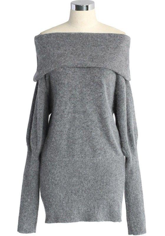 Grey Plain Boat Neck Dolman Sleeve Dress i really really want this