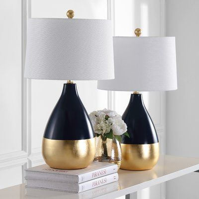 Mercury Row Elser 24 Standard Table Lamp Set Wayfair Gold Table Lamp Table Lamps Living Room Table Lamp Sets