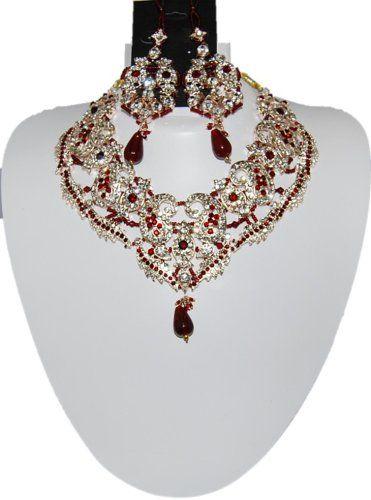Bollywood Style Indian Imitation Necklace Set / AZBWBR022-GRD Arras Creations http://www.amazon.com/dp/B00IH4EC5A/ref=cm_sw_r_pi_dp_019Ktb1RAXDB5GRB