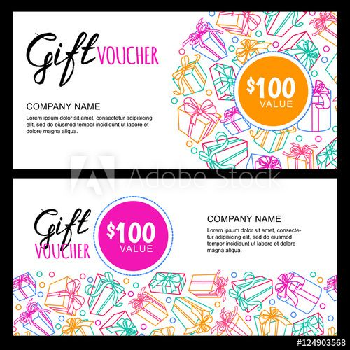 Vector gift voucher template with outline multicolor gift box - flyer outline
