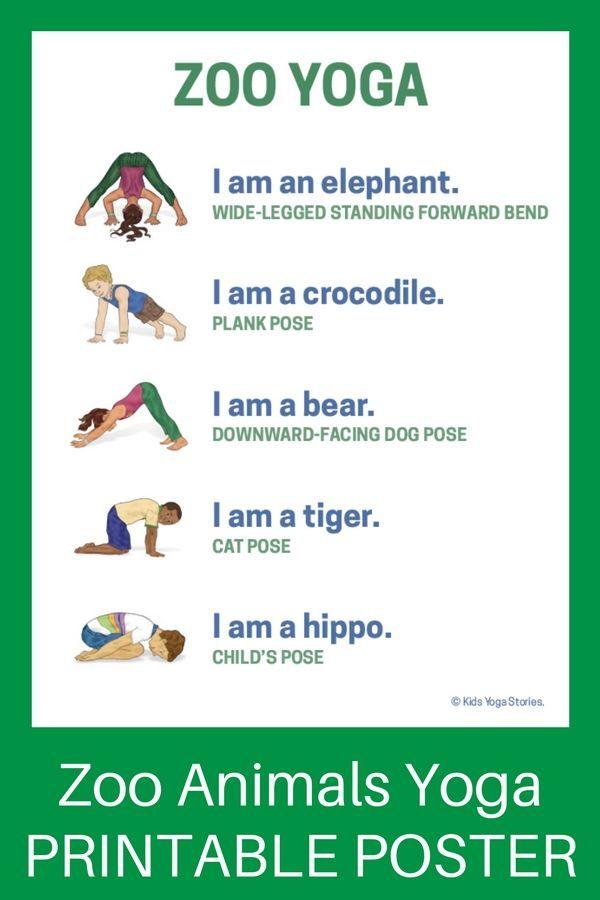5 Zoo Yoga Poses For Kids Printable Poster