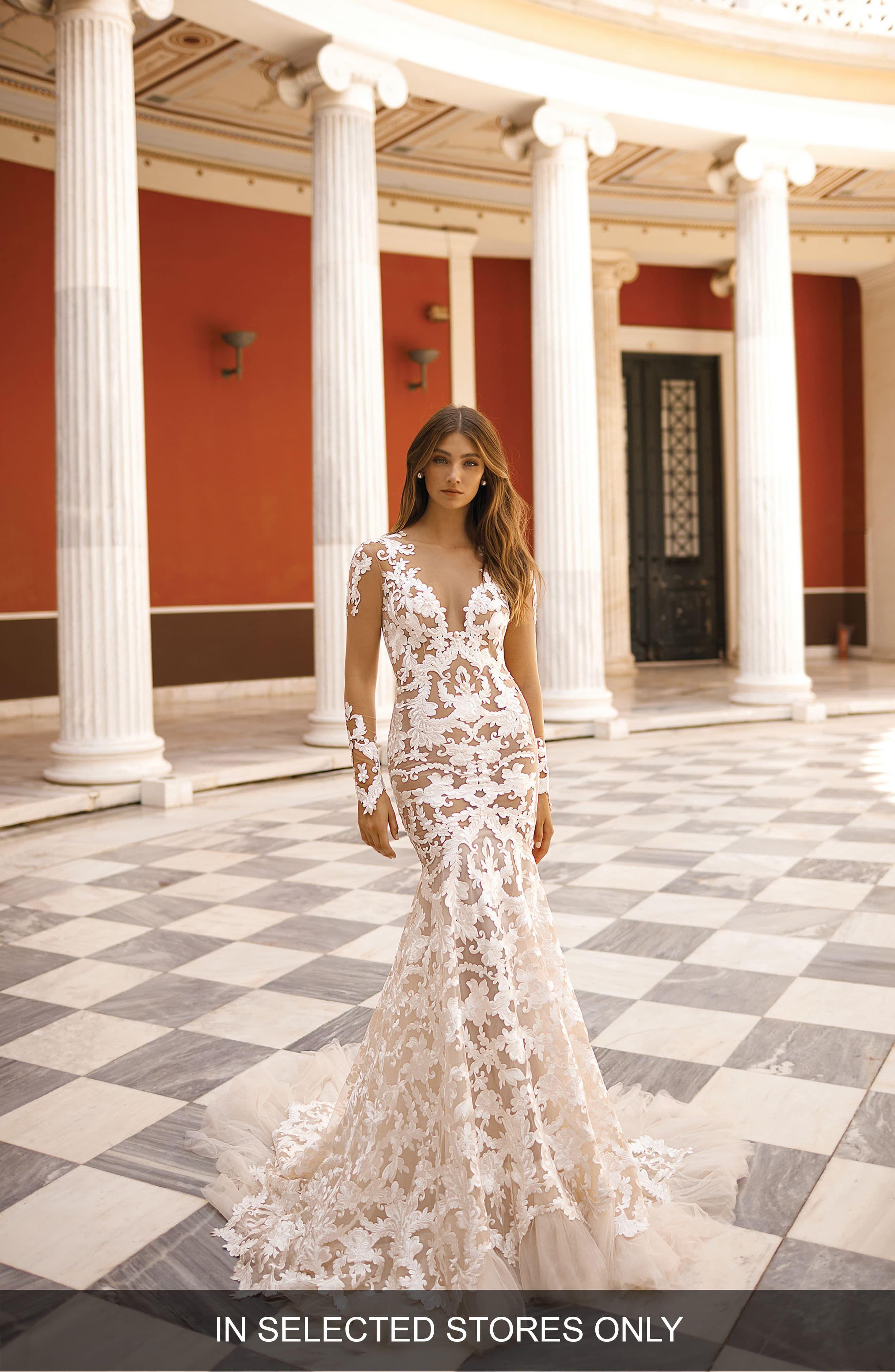 Berta Long Sleeve Lace Mermaid Wedding Dress Lace