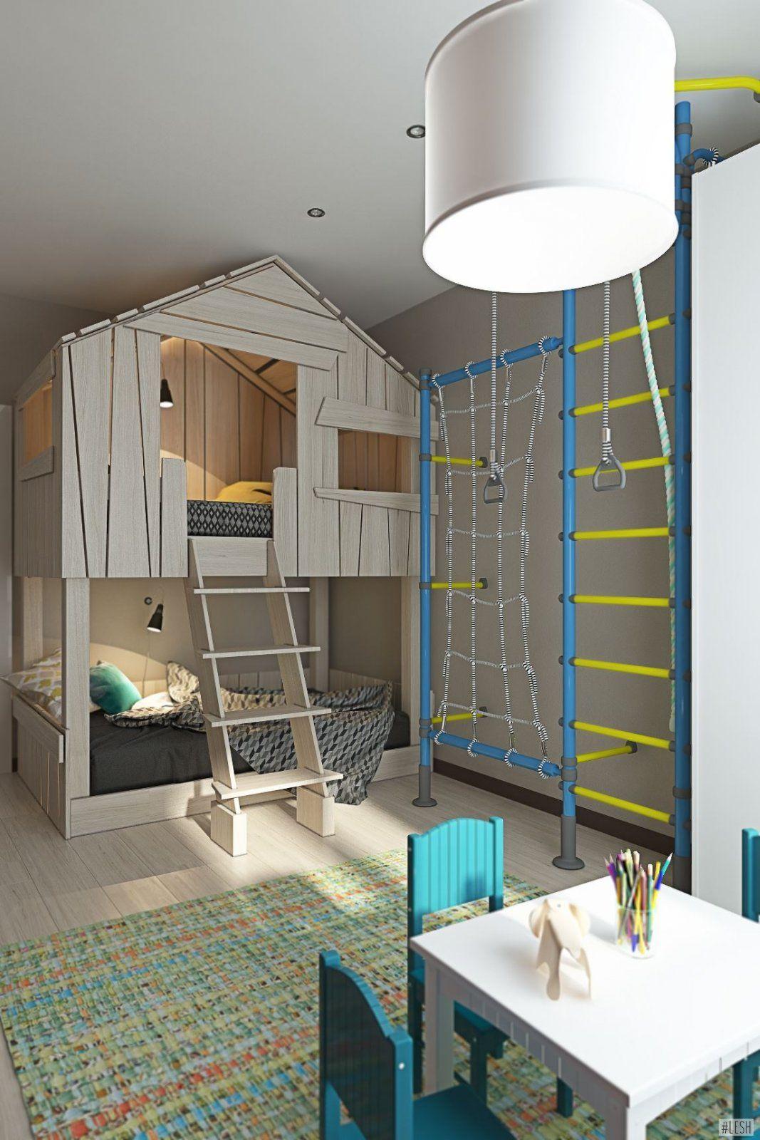 Детская комната для мальчика, спортивная стенка