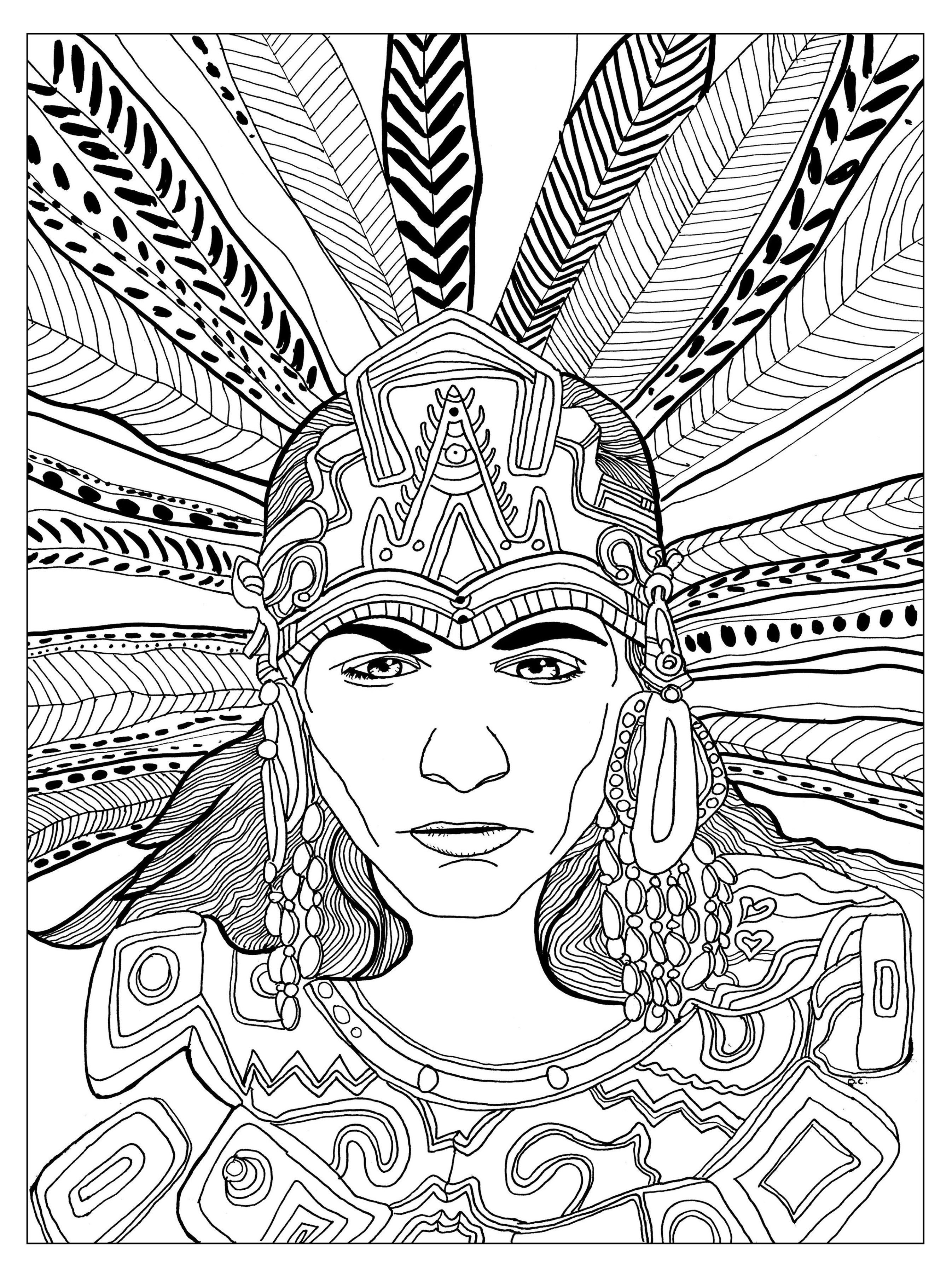 Free Coloring Page Coloring Adult Chief Mayan By Olivier