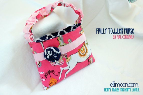 f13da90e423 www.ellimoon.com Frilly Toddler Purse in Pink Carousel. Made to Match Sweet  Honey dresses!Super cute! Other fun stuff on the site too.