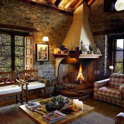 De salas r sticas sala de estar r stica aconchegante e - Diseno de chimeneas rusticas ...