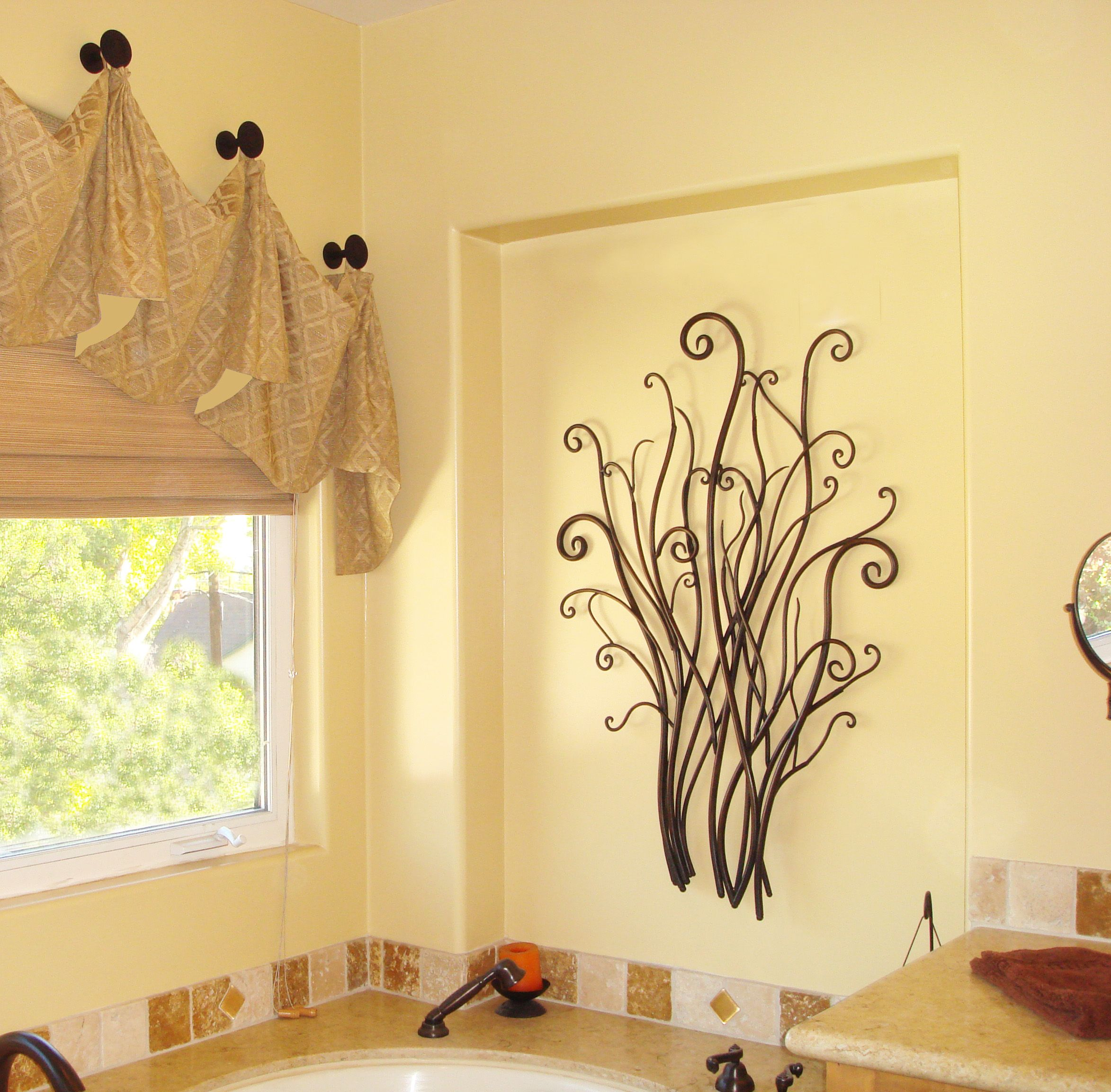 metal wall decor & custom window treatments featured in master ...