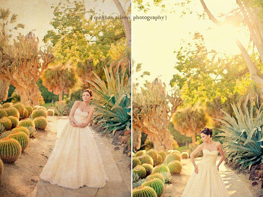 Huntington Library Photo Shoot Succulent Garden Wedding