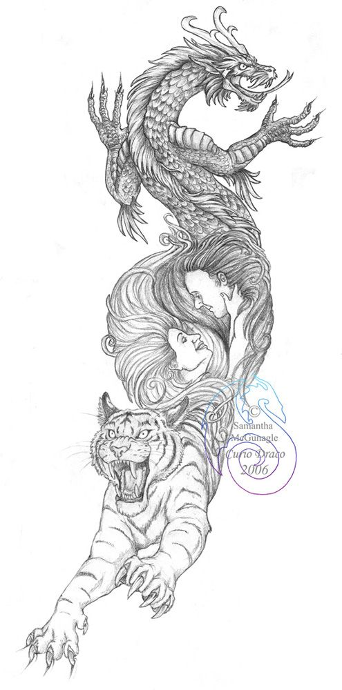 I Love The Dragon And The Tiger Take Out The People Add Another Dragon And A Rat Too I Would Lo Tiger Tattoo Design Dragon Tiger Tattoo Japanese Tiger Tattoo