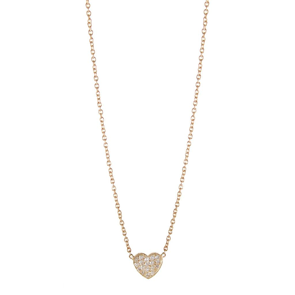 Zoë Chicco 14K Tiny Heart Initial Pendant Necklace