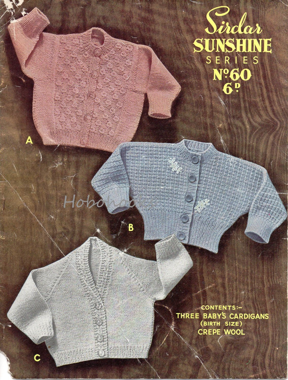 966de0de5e3f Vintage baby cardigan knitting pattern pdf dolman cardigan jacket v ...