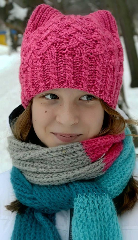PUSSYHAT Looking for a way to stay warm and comfy but to look cute, original and stylish - this 2 layers cat ear hat has one of a kind handmade knit design and is perfect for cold and windy fall or winter weather -----It is STRETCHY and has ONE SIZE and suits for girls starting from 7-8