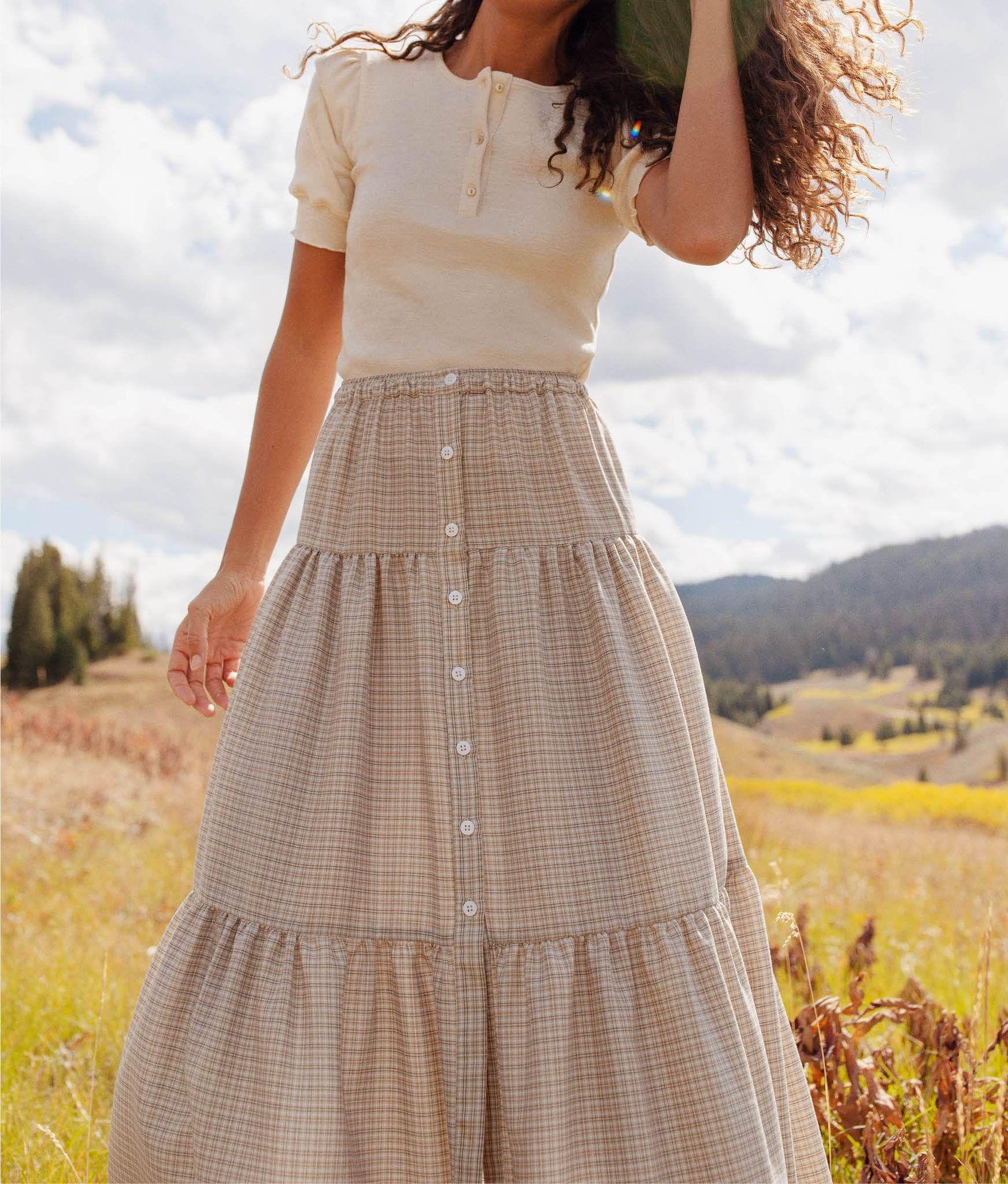 The Laurel Skirt | Sepia Plaid – Christy Dawn