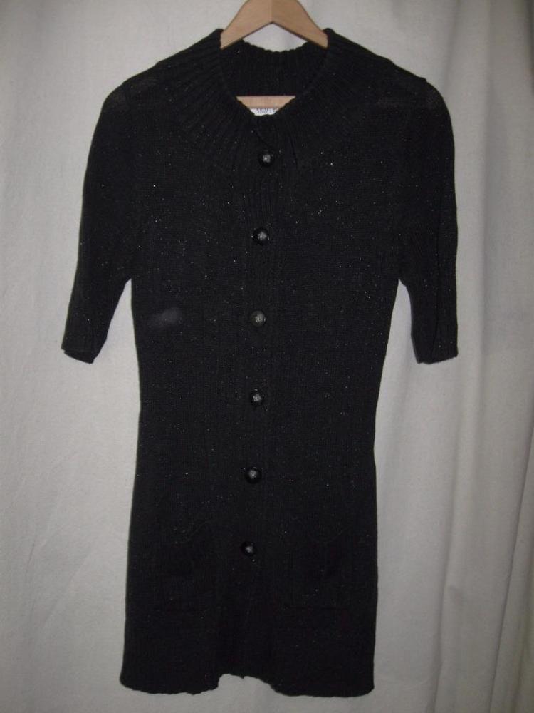 White House Black Market Black Metallic Short Sleeve Tunic ...