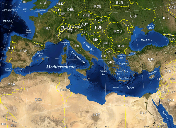 Mediterranean Sea Political Map Map Pinterest