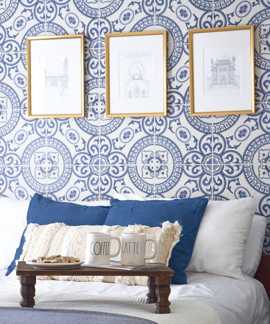 Heritage Tiles Wallpaper Authentic Cement Tile Design Milton King Blue Wallpaper Bedroom Tile Wallpaper Statement Wallpaper Bedroom