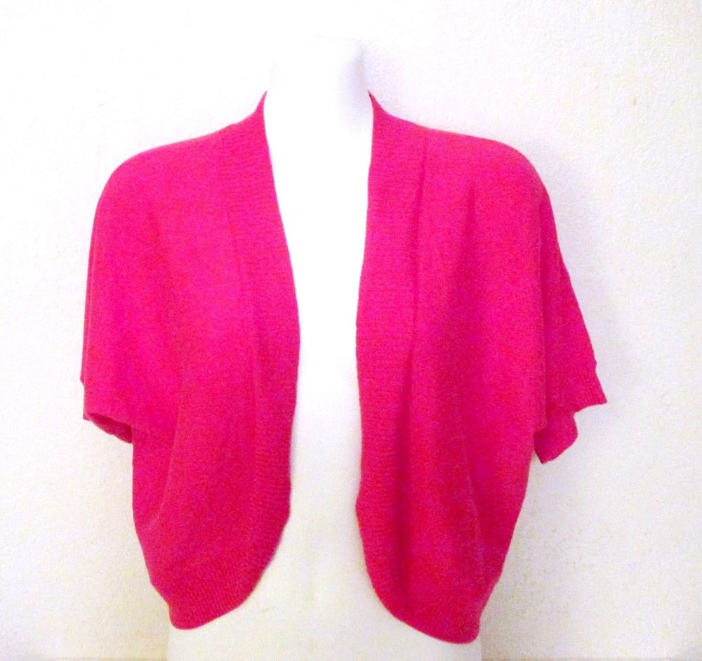 Ann Taylor Womens Sweater Shrug Hot Pink Short Sleeve Open Cropped ...