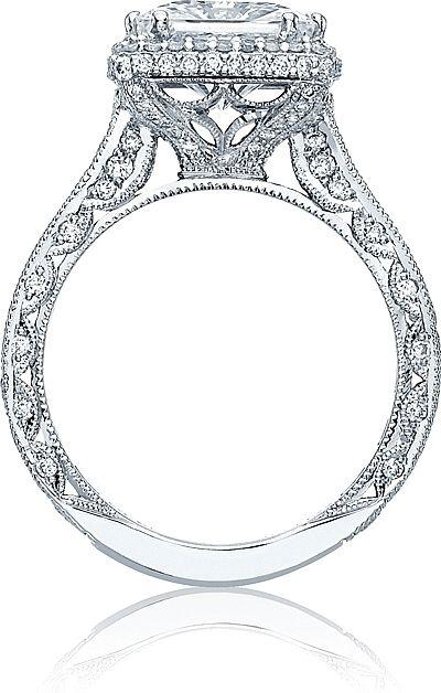 Tacori RoyalT Princess Cut Halo Diamond Engagement Ring HT2607PR