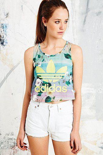 479cbcfa6f58e Adidas x The Farm Company Floralina Crop Top - Urban Outfitters ...