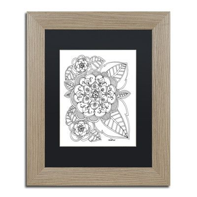 "Trademark Art 'Zendoodles' by KCDoodleArt Framed Graphic Art Size: 14"" H x 11"" W x 0.5"" D, Matte Color: Black"