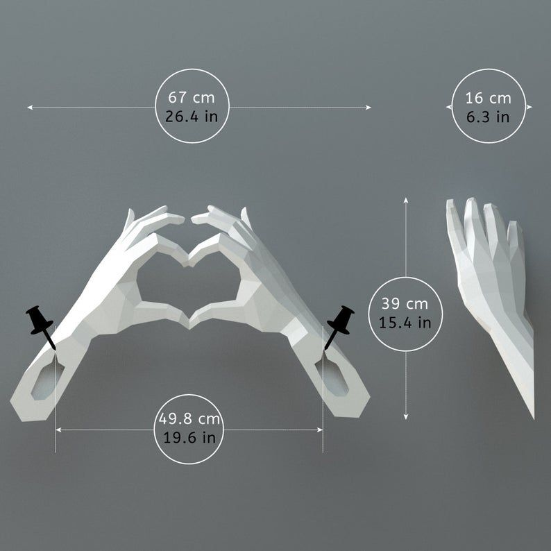 PDF Papercraft Hands Heart Hands Declaration of Love DIY image 3