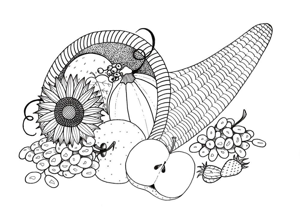 Plentiful Cornucopia Coloring Page | Thanksgiving, Adult coloring ...