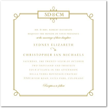 Simple Loops thermography wedding invitation