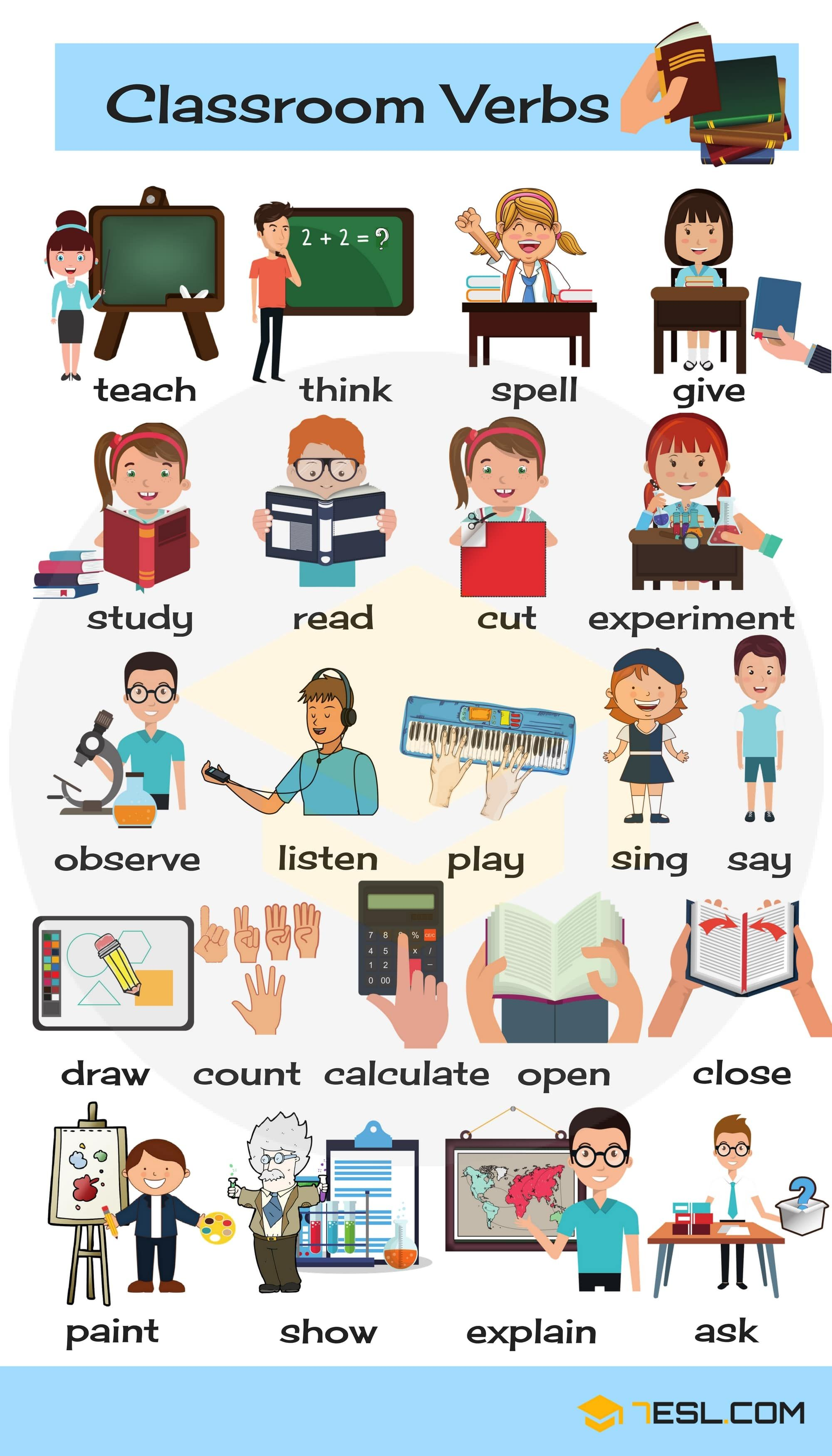 Classroom Verbs List Of School Verbs With Pictures With Images