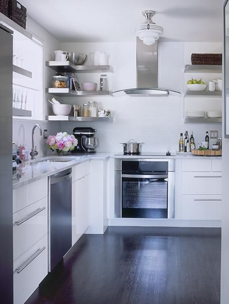 Floating Stainless Steel Shelves Kitchen - Samantha Pynn Interiors Cabinets, Carrara Marble And Subway Tile