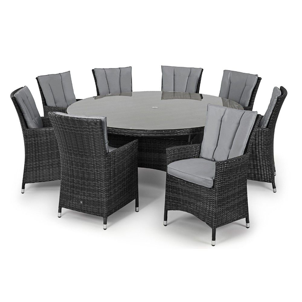 Resistant rattan effect outdoor patio dining set with round table - L A 8 Seat Round Maze Rattan Dining Set Rattan Outdoor Furniture Pinterest Rattan And Garden Furniture